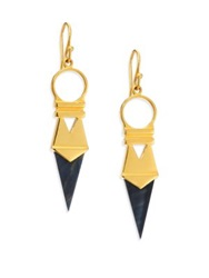 A Peace Treaty Arla Blue Tiger's Eye Dagger Drop Earrings Gold Black