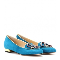 Charlotte Olympia Scorpio Suede Slipper Style Loafers Teal