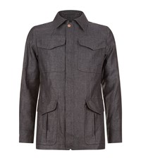 Private White Chambray Field Jacket Male Grey