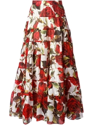 Dolce And Gabbana Long Rose Print Tiered Skirt