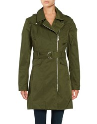 Vince Camuto Removable Hood Zip Up Trench Coat Pine