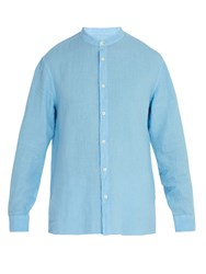 120 Lino Long Sleeved Linen Shirt Blue
