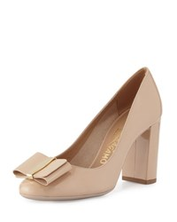 Salvatore Ferragamo Elinda Patent Bow 85Mm Pump New Bisque New Bisque Nude