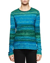 Proenza Schouler Long Sleeve Multi Striped T Shirt Light Blue Turquoise Lt Blue Turq Etch