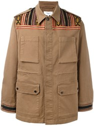 Fashion Clinic Timeless Embroidered Panel Field Jacket Brown