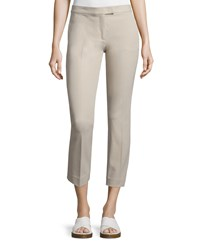 Joseph Finley Slim Fit Ankle Pants Ivory Size 38 Grey Stone