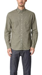 Gitman Brothers Vintage Long Sleeve Flannel Chambray Shirt Olive