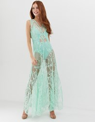 Glamorous Maxi Dress With Sheer Overlay And Floral Embroidery Blue