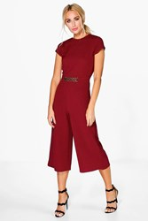 Boohoo Zoe Capped Sleeve Chain Detail One Piece Berry