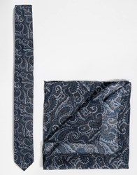 Asos Paisley Tie And Pocket Square Pack Save 21 Navy