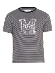 Maison Martin Margiela Logo Print Striped T Shirt Black Multi