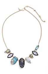 Alexis Bittar Women's Encrusted Crystal Bib Necklace Silver Blue