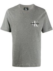 Calvin Klein Jeans Embroidered Logo T Shirt Grey