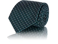 Fairfax Abstract Pattern Silk Twill Necktie Green
