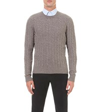 Slowear Cable Knit Virgin Wool Jumper Tan