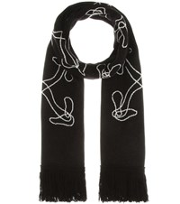 Off White Cotton And Wool Blend Scarf Black