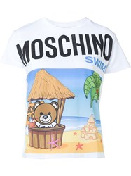 Moschino Swim Cropped Beach Print T Shirt White