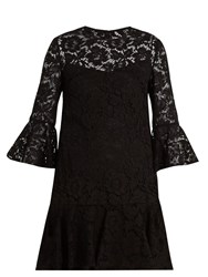 Valentino Fluted Sleeve And Hem Cotton Blend Lace Dress Black