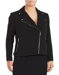 Calvin Klein Plus Exposed Zipper Motorcycle Jacket Black