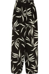 Etro Printed Silk Crepe Wide Leg Pants Black