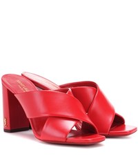 Saint Laurent Loulou 95 Leather Mules Red