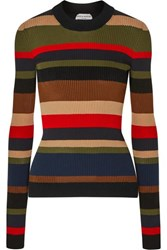 Sonia Rykiel Striped Ribbed Cotton And Cashmere Blend Sweater Army Green