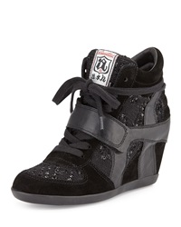 Ash Bowie Sequined Hidden Wedge Sneaker Black Blac