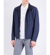 Canali Reversible Wool And Shell Bomber Jacket Slate Blue