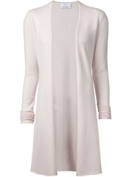 Allude Long Sleeve Open Draped Cardigan Pink And Purple
