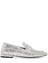 Chiara Ferragni 10Mm Flirty Eye Glittered Loafers Silver