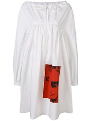 Calvin Klein 205W39nyc Graphic Printed Long Sleeve Dress White