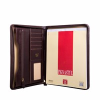 Maxwell Scott Bags Dimaro Luxury Italian Leather Conference Folder Chocolate Brown