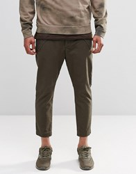 Asos Cropped Tapered Trousers With Military Pockets In Khaki Military Khaki Green