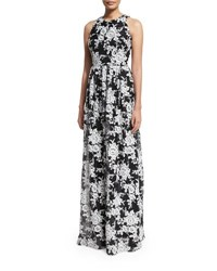 David Meister Sleeveless Crewneck Floral Chiffon Gown Black White