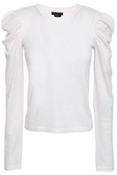 Alice Olivia Woman Lidia Gathered Wool Blend Top Ivory