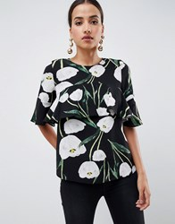 Ax Paris Leaf Printed Blouse Black