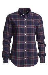 Gitman Brothers Vintage Indigo Plaid Tapered Fit Flannel Shirt Women Dark Plaid