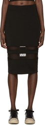 Alexander Wang Black Lux Ponte Mesh Striped Pencil Skirt