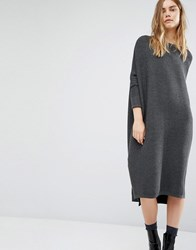 Paisie Oversized Ribbed Jumper Dress With Side Splits Grey