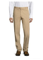 Saks Fifth Avenue Stretch Garment Dyed Regular Fit Chinos Tan