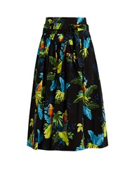 Marc Jacobs Tropical Bird Print Cotton Blend Skirt Black Multi