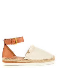 See By Chloe Canvas And Leather Espadrille Sandals Cream Multi