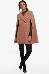 Boohoo Double Breasted Wool Cape Camel
