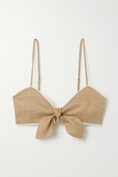 Miguelina Tilly Crochet Trimmed Linen Bralette Light Brown