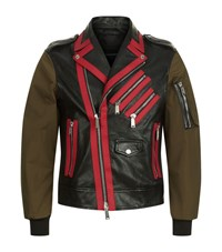 Dsquared2 Contrast Sleeve Leather Jacket Male Black