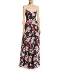 Fame And Partners The Khoo Sleeveless Floral Bustier Gown With Lace Up Back Blushing Blooms