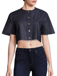 Solace London Cropped Snap Front Shirt Denim