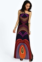 Boohoo Stephanie Bandeau Printed Maxi Dress Multi