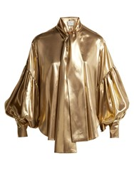 Hillier Bartley Balloon Sleeve Silk Blouse Gold