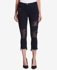 Dkny Sequined Cropped Skinny Jeans Indigo